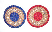 JBG Home Store Polyester Medium Door Mat JBG Home Store Set Of 2 Chain Design Round Doormat (Multicolor, 2 Mats)