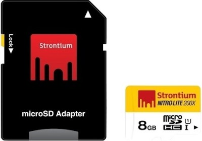 Strontium NitroLite 200X 8GB MicroSDHC Class 10 (30MB/s) UHS-1 Memory Card (With Adapter)