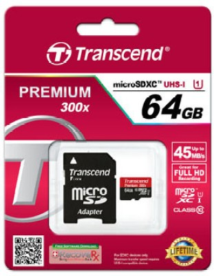 Transcend Premium 300X 64GB MicroSDHC Class 10 Memory Card (With Adapter)