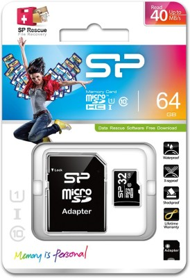 Silicon Power Elite 64GB MicroSDXC Class 10 Memory Card (With Adapter)