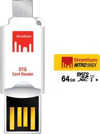Strontium Nitro 566x 64GB MicroSDXC Class 10 (85MB/s) Memory Card (With OTG Card Reader)