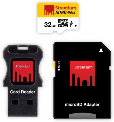 Strontium Nitro 466X 32GB MicroSDHC Class 10 (70MB/s) Memory Card (WIth Card Reader & Adapter)