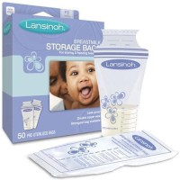 Lansinoh Breastmilk Storage Bags (Pack Of 50, Transparent, Blue)