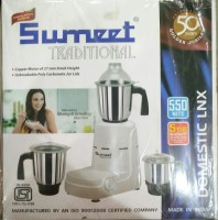 Sumeet Domestic LNX 550 W Mixer Grinder (White, 3 Jars)