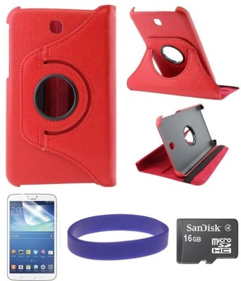 DMG Flip Book Back Cover Stand Case for Samsung Galaxy Tab 3 T211 with 16GB microSD and Matte Screen Combo Set Red