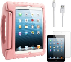 DMG Shock Proof Styro Foam Protective Back Case for Apple IPad Mini, Data Cable and Matte Screen Combo Set