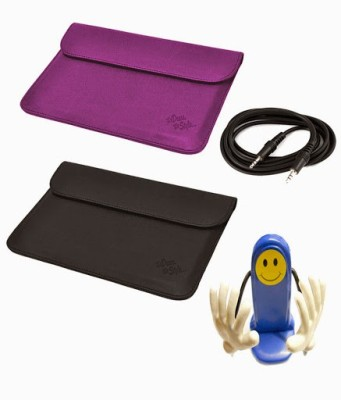 My Dress My Style 10 inch Tablet Sleeve, Aux Cable and Mobile Holder for Spice Stellar Pad Mi 1010 WiFi 16 GB Combo Set Purple, Black available at Flipkart for Rs.449