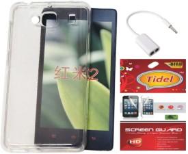 Tidel Silicon Soft Back Cover For Xiaomi Redmi 2 WITH Tidel SCREEN GUARD & AUDIO SPLITER Combo Set