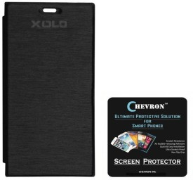 Chevron Flip Cover Case with HD Screen Guard for XOLO Omega 5.0 Combo Set