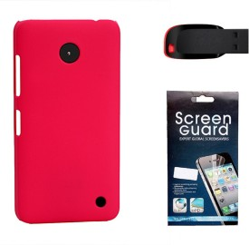 KolorEdge Back Cover + Screen Guard + 4GB Pen Drive For Nokia Lumia 630 - Pink Combo Set