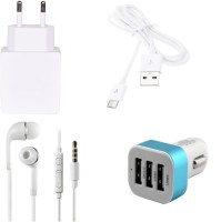 ROBMOB High Quality 1.0 Amp USB Charger+ USB Cable+3.5mm Jack Handsfree+ 3 Jack USB Car Charger Compatible With Micromax Canvas Pulse Accessory Combo (White)