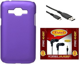 Tidel Back Cover With 3.5mm Stereo Earphone & Usb Data Cable For Samsung Galaxy Core 2 Combo Set