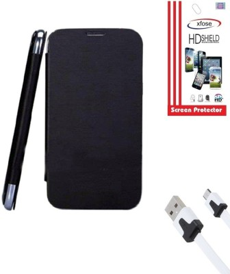 Xfose Flip Cover Screen Guard & Data Cable Micromax A76 Combo Set Black