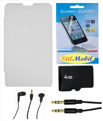 StilMobil Gionee Pioneer P2S Flip Cover + 4 GB Micro SD Memory Card + Screen Cover + Ear Phone + Aux Cable Combo Set available at Flipkart for Rs.649