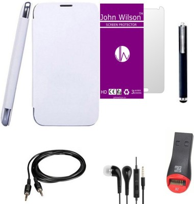 John Wilson Micromax A350 Canvas Knight Flip Cover + Screen Gaurd + Ear Phone + Aux Cable + Stylus + Card Reader Combo Set available at Flipkart for Rs.499