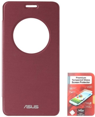 DMG Circle Window Flip Book Cover Case for Asus Zenfone 5 Black With Tempered Glass Screen Combo Set Maroon available at Flipkart for Rs.799