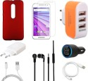 CELLMATE Tempered Glass Screen Guard Cover Case Charger Headphone USB Cable For Motorola G3 Accessory Combo (Multicolor)