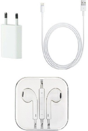 Edge Plus iPhone 6 and 6 Plus Cable,Amp Adapter and Earpods Combo Set