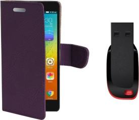 KolorEdge Flip Cover, 8GB Pen Drive For Lenovo A5000 Combo Set