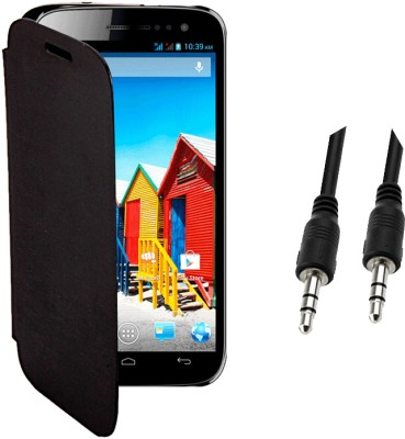 KolorEdge Cover for Micromax Canvas HD A116 black with 3.5mm Auxiliary Cable Combo Set black