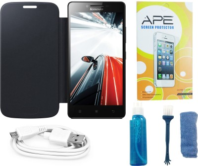 ape flip cover screen guard cleaning kit and data cable and for lenovo a6000 combo set. Black Bedroom Furniture Sets. Home Design Ideas