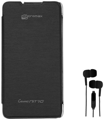 various colors 30f52 e7ca8 Chevron Flip Cover with 3.5mm Stereo Earphones for Micromax Canvas ...