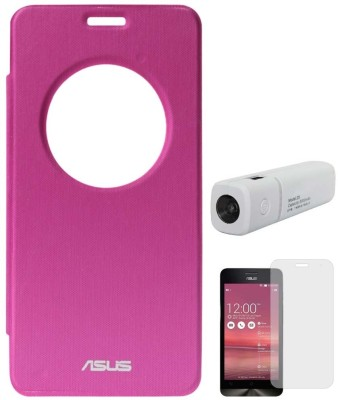 DMG Circle Window Flip Book Cover Case for Asus Zenfone 5 Magenta, 3000 mAh PowerBank, Matte Screen Combo Set Pink available at Flipkart for Rs.999