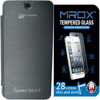 Mirox Flip Cover For Micromax Canvas Nitro 4G E455 With Tempered Glass Accessory Combo (Black)