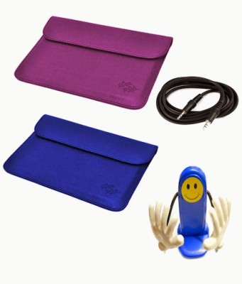 My Dress My Style 10 inch Tablet Sleeve, Aux Cable and Mobile Holder for Spice Stellar Pad Mi 1010 WiFi 16 GB Combo Set Purple, Dark Blue available at Flipkart for Rs.449