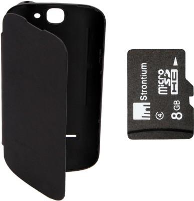 KolorEdge Flip Cover plus 8GB Memory Card for LAVA Iris 458Q  Black Combo Set Black available at Flipkart for Rs.649