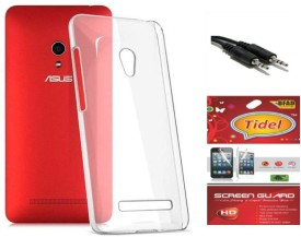 Tidel Silicon Soft Back Cover For Asus Zenfone 5 A501cg With Tidel Screen Guard & Aux Cable Combo Set