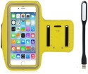 Go Crazzy New Hot (5.5) Arm Band Workout Cover Sport Gym Case For LG G3 Prime With USB Led Light Accessory Combo (Yellow)
