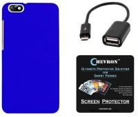 Chevron Premium Back Cover Case with HD Screen Guard & Micro OTG Cable for Huawei Honor 4X (Royal Blue) Combo Set