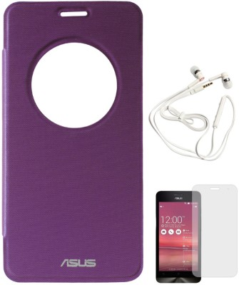 DMG Circle Window Flip Book Cover Case for Asus Zenfone 5 Purple, White Earphones, Matte Screen Combo Set Purple available at Flipkart for Rs.899