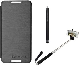 DMG Premium PU Leather Flip Cover for HTC Desire 820, Selfie Stand Stick and Stylus Combo Set