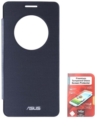 DMG Circle Window Flip Book Cover Case for Asus Zenfone 5 Pebble Blue With Tempered Glass Screen Combo Set Blue available at Flipkart for Rs.1199