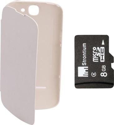 KolorEdge Flip Cover plus 8GB Memory Card for LAVA Iris 458Q  White Combo Set White available at Flipkart for Rs.649