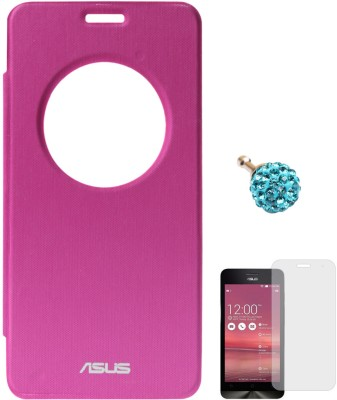 DMG Circle Window Flip Book Cover Case for Asus Zenfone 5 Magenta, 3.5mm Dust Jack, Matte Screen Combo Set Pink available at Flipkart for Rs.549