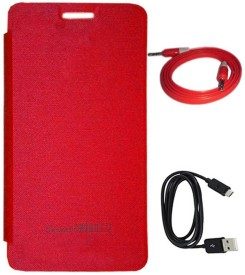 TBZ Flip Cover Case for Micromax Canvas Knight 2 E471 with Data Cable and Aux Cable Combo Set
