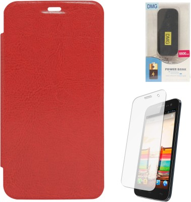 DMG PU Leather Premium Flip Case for Micromax Canvas 2.2 A114 , 6600 mAh PowerBank & Matte Screen Combo Set available at Flipkart for Rs.1349