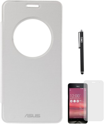 DMG Circle Window Flip Book Cover Case for Asus Zenfone 5 White, Matte Screen, Stylus Combo Set White available at Flipkart for Rs.499