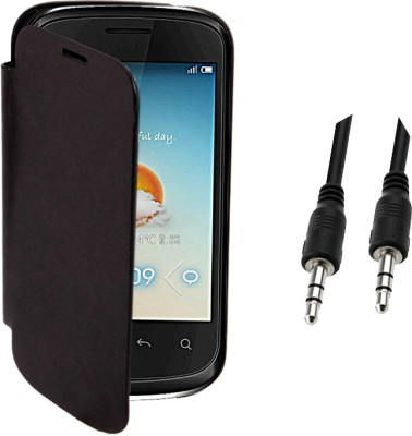 KolorEdge Cover for Micromax Bolt A 27 (black) with 3.5mm Auxiliary Cable Combo Set