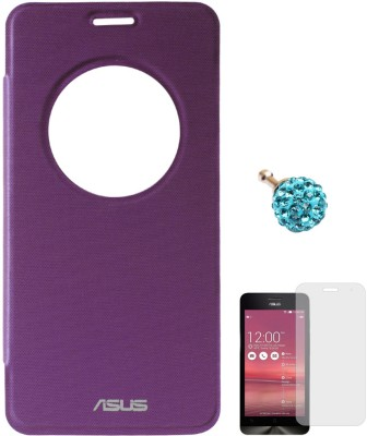 DMG Circle Window Flip Book Cover Case for Asus Zenfone 5 Purple, 3.5mm Dust Jack, Matte Screen Combo Set Purple available at Flipkart for Rs.549