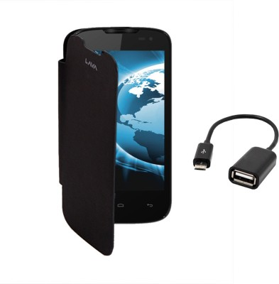 KolorEdge Flip Cover and OTG Cable for Lava iris 402 Combo Set Black