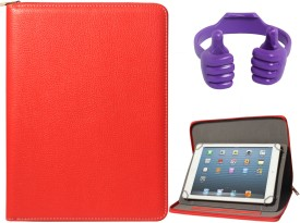 DMG Zippered Portfolio Cover Stand Case with Accessory Pockets for Micromax P480 and Tablet Holder Hand Stand Combo Set