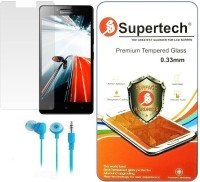 Supertech Tempered Glass Screen Scratch Guard Protector For Lenovo A6000 With Colorful Earphone Accessory Combo (Multicolor)