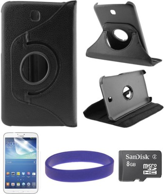 DMG Flip Book Back Cover Stand Case for Samsung Galaxy Tab 3 T211 with 8GB microSD and Matte Screen Combo Set Black