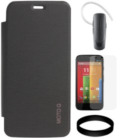 DMG Diary Case for Motorola Moto G XT1032 with Samsung HM1100 Bluetooth and Screen Guard and Wristband Combo Set