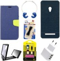 Mify Mify Branded Back & Flip Cover For Asus Zenfone 5 A500Cg Accessory Combo  NAVYBLUE, Blue  available at Flipkart for Rs.1119