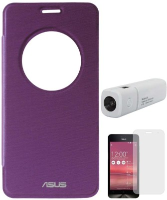 DMG Circle Window Flip Book Cover Case for Asus Zenfone 5 Purple, 3000 mAh PowerBank, Matte Screen Combo Set Purple available at Flipkart for Rs.999